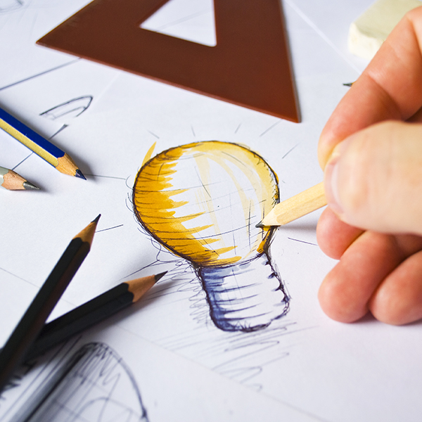 Tekening lamp logo ontwerp